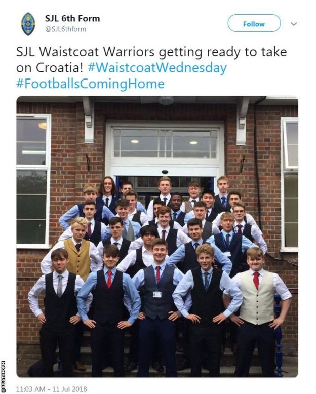 Sixth form students copy Gareth Southgate's waistcoat look