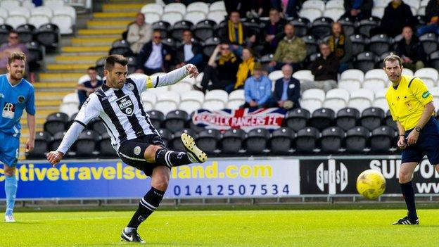 Steven Thompson scores a penalty for St Mirren against Berwick Rangers