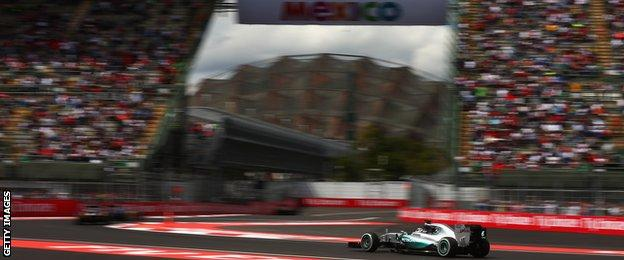 A unique stadium section of the track sees the action pass between two grandstands in Mexico