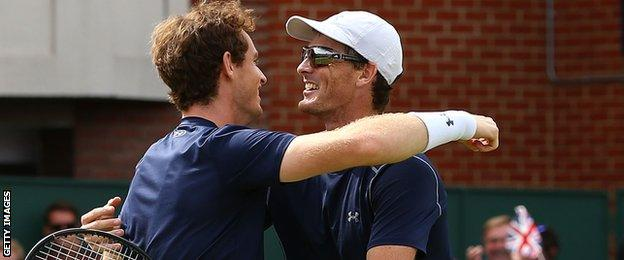Jamie and Andy Murray played together in the doubles against France in July