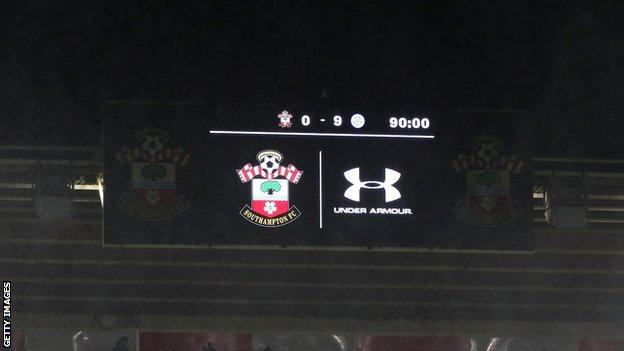 Southampton 0-9 Leicester scoreboard