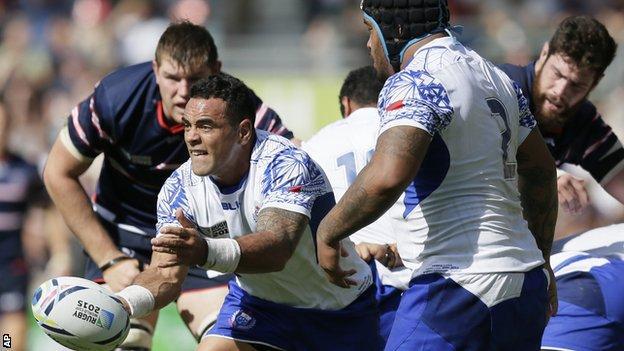 Samoa's Kahn Fotuali'i in action against USA