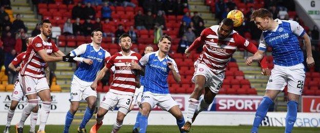 Liam Craig heads on Blair Alston's corner and the ball finds the Hamilton Academical net via Scott McMann
