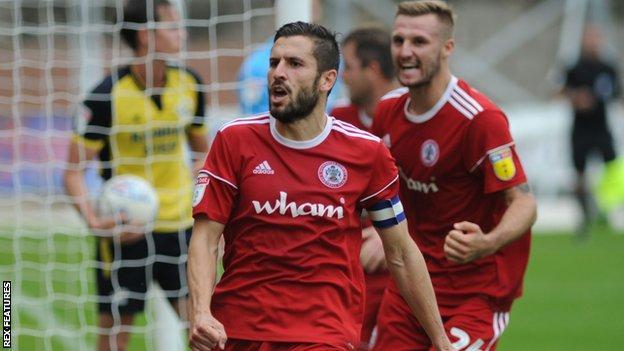 Accrington Stanley captain Seamus Conneely celebrates scoring a goal