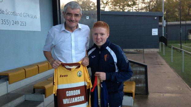 Forres Mechanics kit-man Willy McLean and East Kilbride counterpart Martin Fellowes