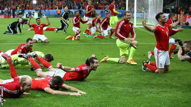 Wales players celebrate their win over Belgium