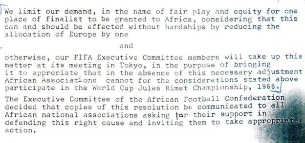 Memo with Caf ultimatum to Fifa