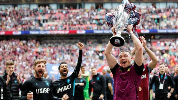 James Chester celebrates Aston Villa's Championship Play-off final win