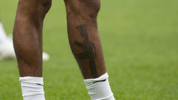 Sterling's tattoo was pictured during training in Burton-on-Trent on Bank Holiday Monday