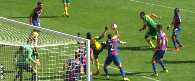 Cameron Jerome's goal for Norwich against Crystal Palace was disallowed for dangerous play