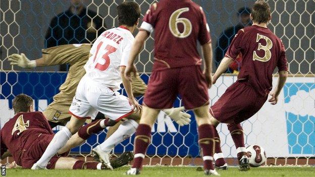 David Siradze scores Georgia's second goal against Scotalnd in 2007