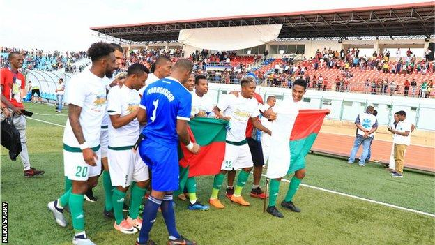 Madagascar celebrate qualifying for the 2019 Africa Cup of Nations