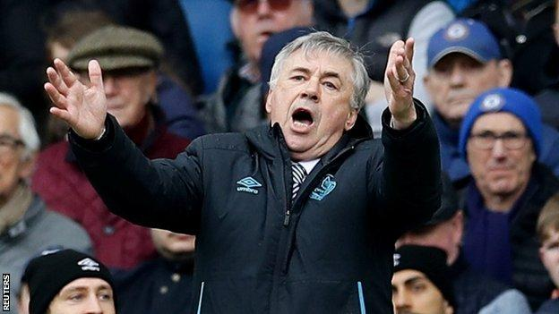 Carlo Ancelotti shows his frustration as he watches Everton lose at Chelsea