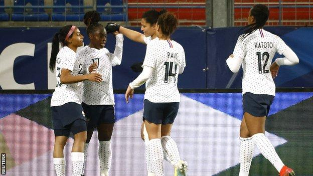 France celebrating their opening goal against England