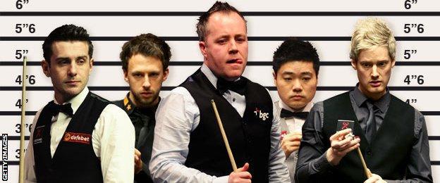 (left to right) Mark Selby, Judd Trump, John Higgins, Ding Junhui and Neil Robertson