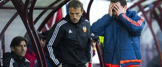 Valencia coach Gary Neville during his first La Liga game