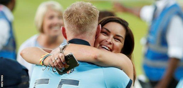 Ben Stokes hugs his wife Clare after the World Cup final