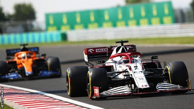 Kimi Raikkonen driving at the F1 Grand Prix of Hungary