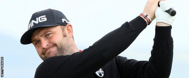 Andy Sullivan plays a shot in his first round at Castle Stuart