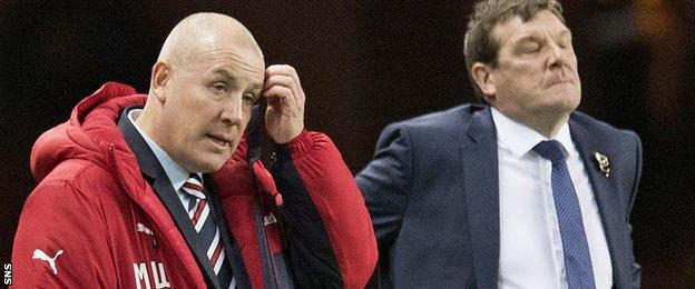 There was frustration at Ibrox for Rangers boss Mark Warburton and St Johnstone counterpart Tommy Wright