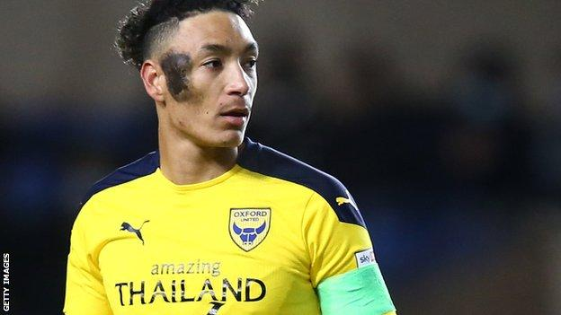 Sean Clare in action for Oxford United