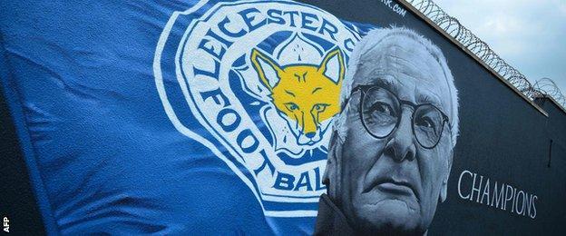 A giant mural of Leicester City's Italian manager Claudio Ranieri, created by artist Richard Wilson