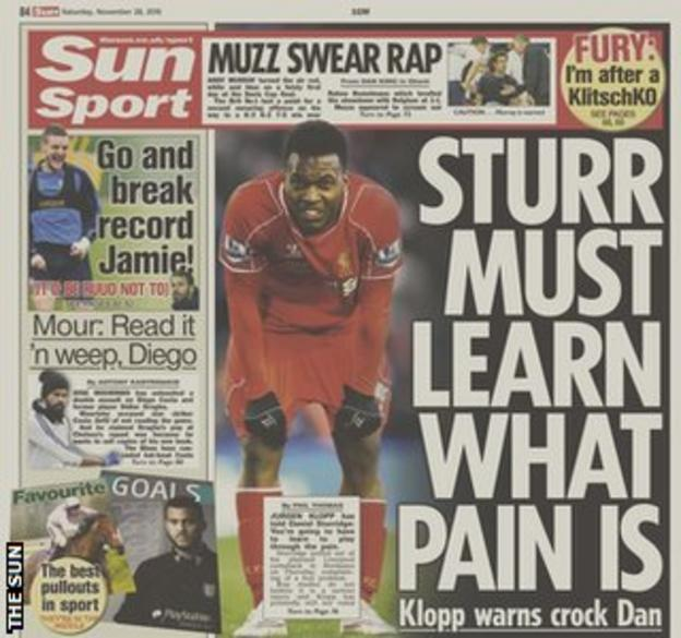 The Sun's Saturday back page