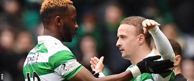 Celtic's Moussa Dembele is replaced with Leigh Griffiths