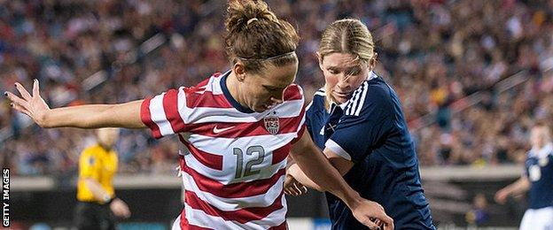 Leanne Ross (right) in action for Scotland against USA