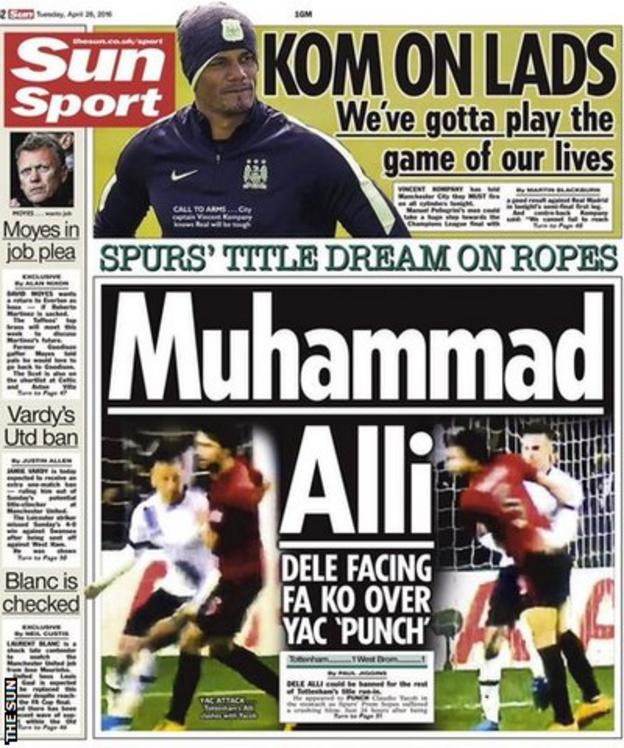 Tuesday's The Sun back page