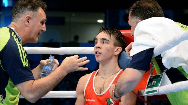 Billy Walsh delivers instructions to Belfast fighter Michael Conlan