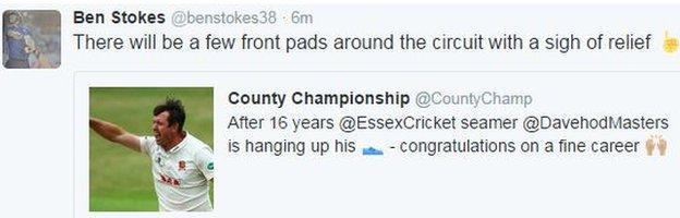 Ben Stokes' Masters tweet