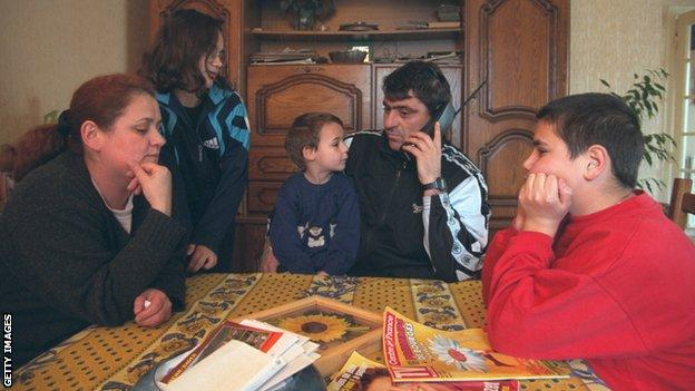 Fadil Vokrri and family in Montlucon during the Kosovo war
