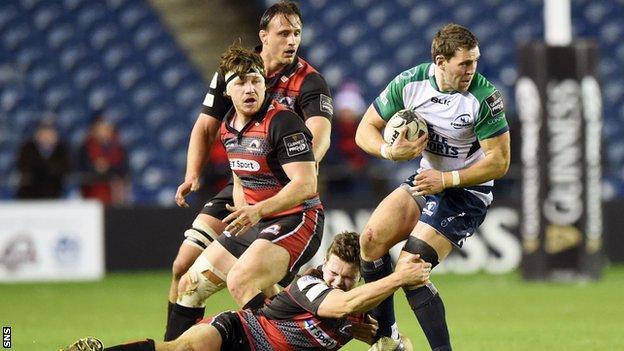 Edinburgh's Chris Dean battles with Connacht's Craig Ronaldson