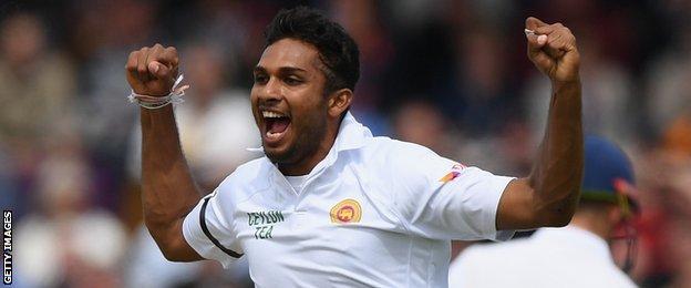 Dasun Shanaka celebrates a wicket