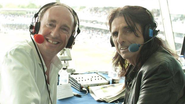 Jonathan Agnew and Alice Cooper