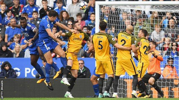 Harry Maguire scores for Leicester against Brighton