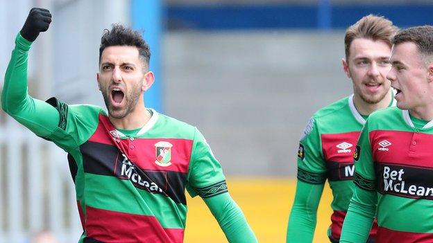 Navid Nasseri celebrates his first goal but the Glens midfielder saw his late penalty saved