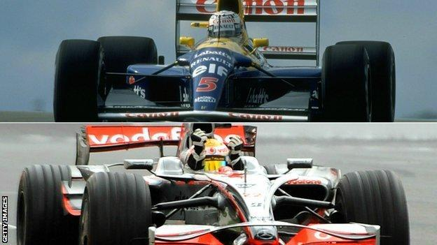Lewis Hamilton and Nigel Mansell