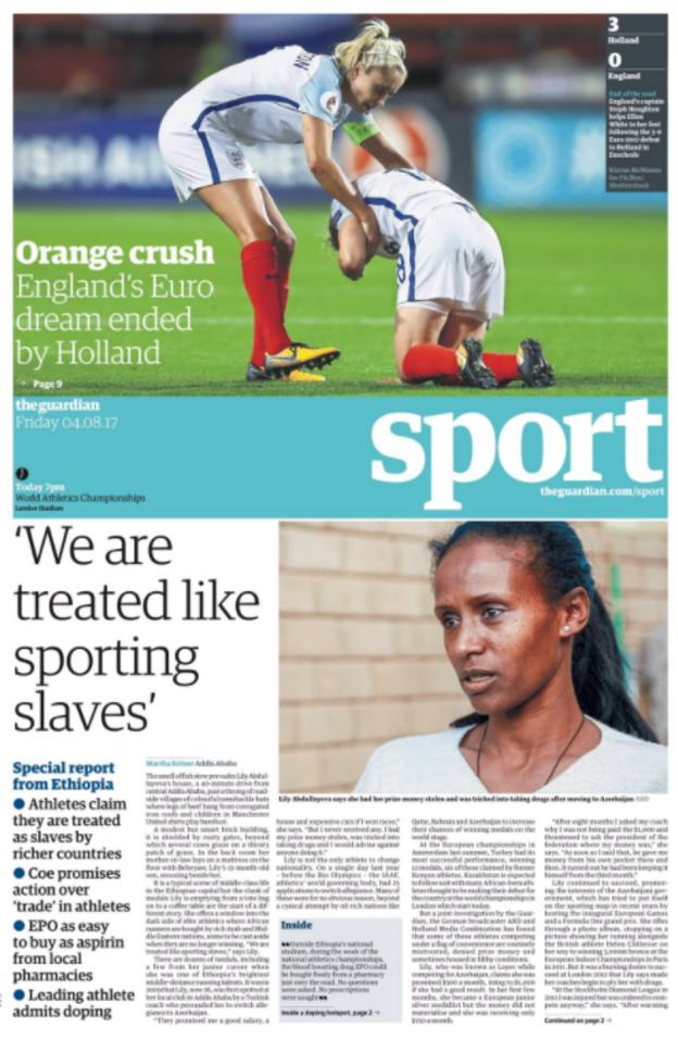 The Guardian's sport section on Friday