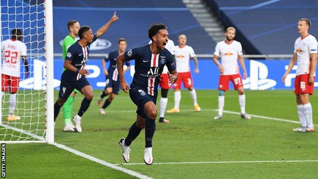 Marquinhos (centre) celebrates scoring the opening goal for Paris Saint-Germain
