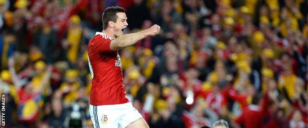 Johnny Sexton celebrates scoring a try for the Lions in 2013