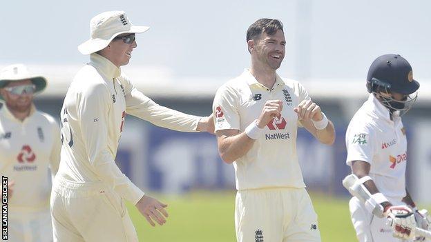 England's James Anderson celebrates taking a wicket against Sri Lanka