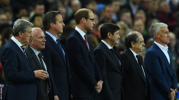 England manager Roy Hodgson, the Football Association chairman Greg Dyke, British Prime Minister David Cameron, Prince William, the Duke of Cambridge and France manager Didier Deschamps