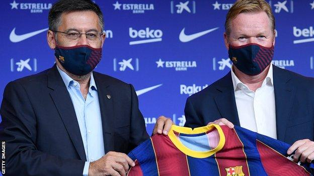 Barcelona's ex-president Josep Maria Bartomeu presents Ronald Koeman as manager