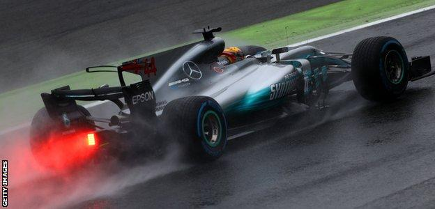 Mercedes F1 driver Lewis Hamilton in action at the Italian Grand Prix