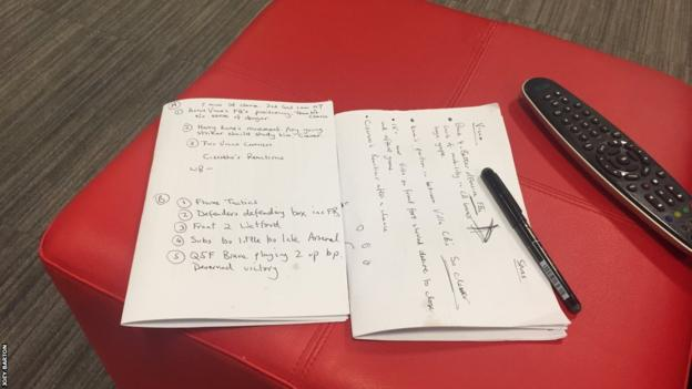 Joey Barton's notes for his analysis of Villa on MOTD2
