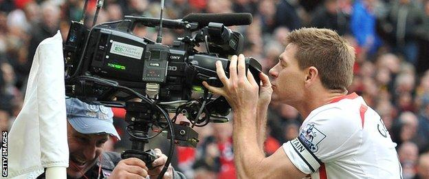 Gerrard kisses the TV camera