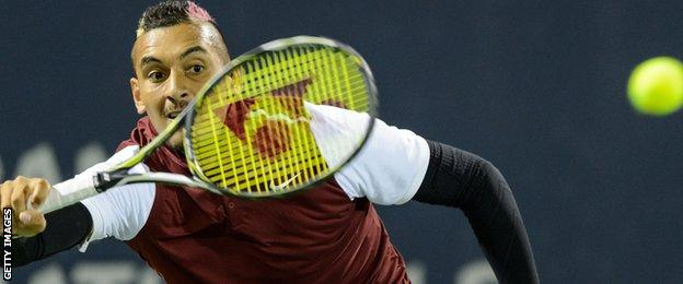 Nick Kyrgios in action in Montreal