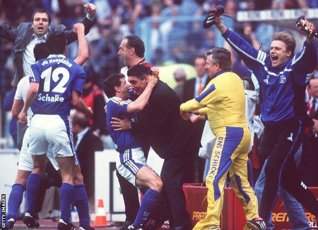 Schalke celebrate as they believe they win the title